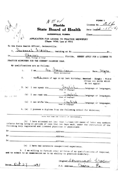 Savannah Brown - Application for license to practice midwifery - Chaires, Florida 27 Oct 1941